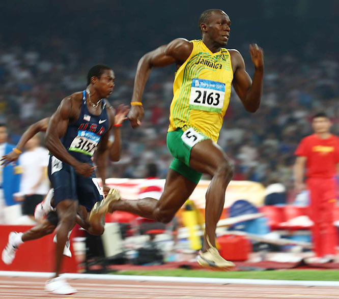 Earlier this week Bolt ran a world record 9.69 to win gold in the 100 meters at the Beijing Games.