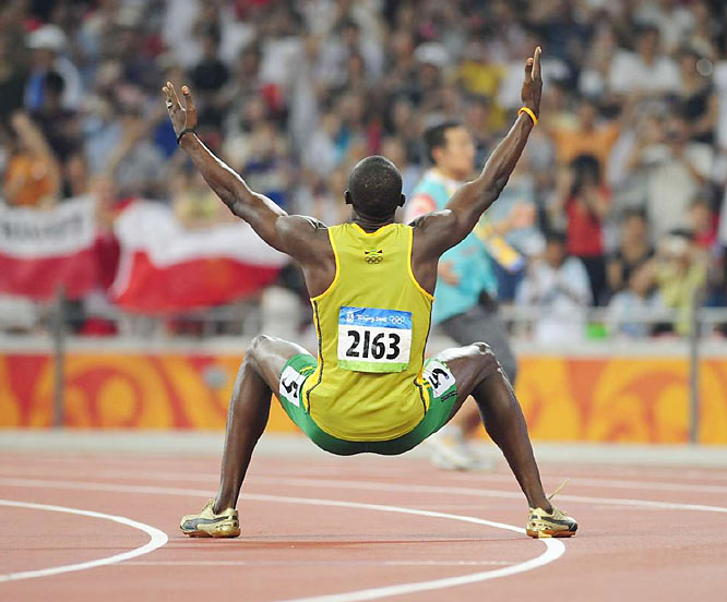After winning, Bolt raised his arms, fell flat to his back, arms and legs outstreched, and basked in the roar of the crowd.