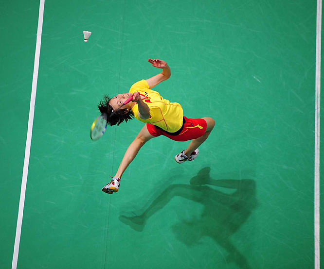 Xie Xingfang of China in the women's badminton quarterfinals.