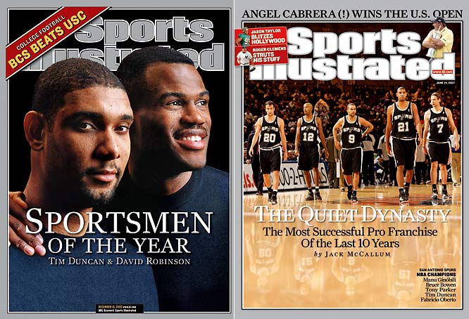 "Being so bad couldn't have happened at a better time for the Spurs. After posting the third-worst record in the NBA during the 1996-97 season, San Antonio won the top pick in the Draft Lottery -- a pick it used to select Wake Forest University All-American Tim Duncan. With Duncan and veteran center David Robinson serving as the team's ""Twin Towers,"" the Spurs went on to appear in the playoffs every year since, winning NBA titles in 1999, 2003 (Robinson's last season), 2005 and 2007."