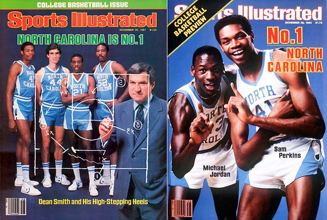 Once the NCAA Tournament was expanded to allow multiple teams from each conference, the Tar Heels became annual visitors to the big dance. UNC advanced to 19 Sweet 16's, 13 Elite 8's and nine Final Fours and won national titles in 1982 (thanks to a jump shot by a freshman named Michael Jordan) and 1993 under Hall of Fame coach Dean Smith.