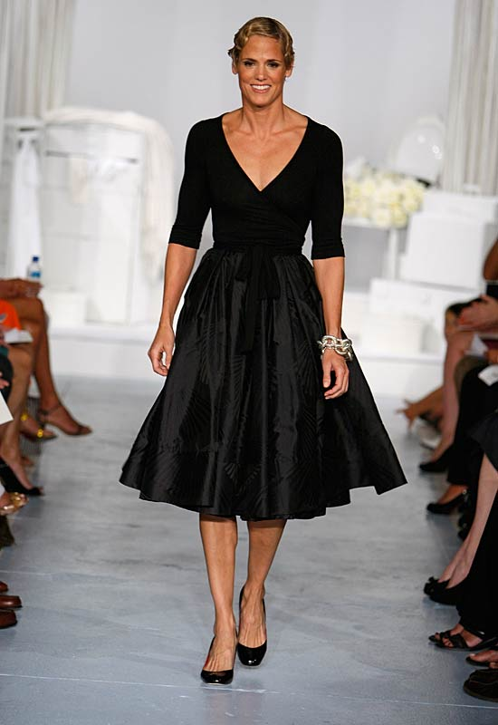 Super swimmer Dara Torres made her runway debut at the Charles Nolan show.