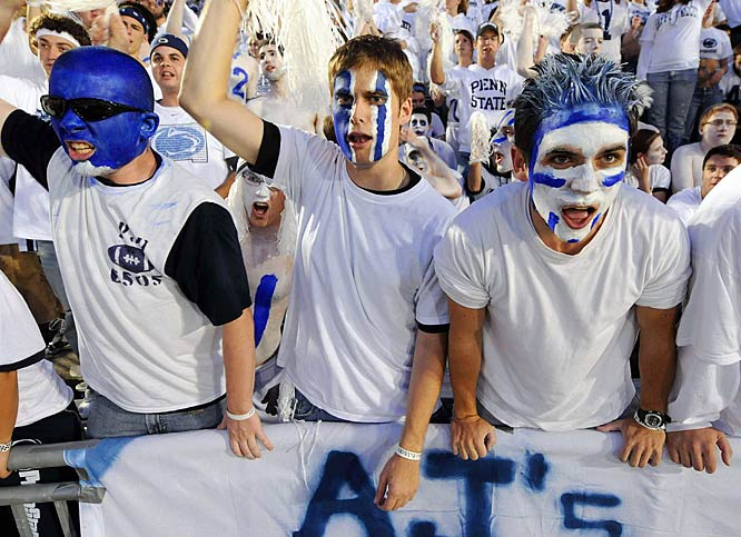 These fans are pumped about White Out night and the 2008 Nittany Lions squad.