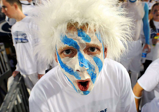 This Penn State fan won back any points he lost for the blue face paint with his impressive white wig.