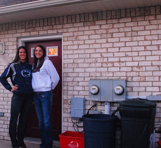 Penn State volleyball junior middle hitter Kelsey Ream (left) and redshirt sophomore middle hitter Blair Brown share more than just memories of last year's national championship season. The pair also share a small two-story house at the end of a cul-de-sac about four blocks north of the Penn State campus. The house is close enough to campus to bike to class, but far enough away to provide peace and quiet after a long practice. And their teammates are not far away. Seniors Christa Harmotto and Nicole Fawcett and sophomore Alyssa D'Errico live next door.