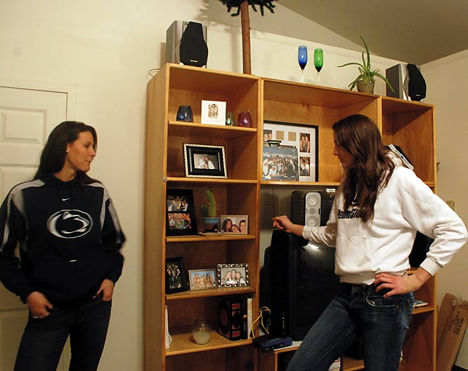 """Brown points to three books standing upright on the bottom shelf. They were gifts from her mother, Jaima, to keep her occupied after ankle surgery in January. 'The Complete Works of William Shakespeare' is the first and largest of the three. Movie-watching is also a favorite pastime in the house, and both Ream and Brown said that 'Sex in the City' was their favorite movie. """"It was awful -- but so good,"""" Brown said. """"I came home and didn't want to talk to anyone. I felt like I had been broken up with seven times."""""""