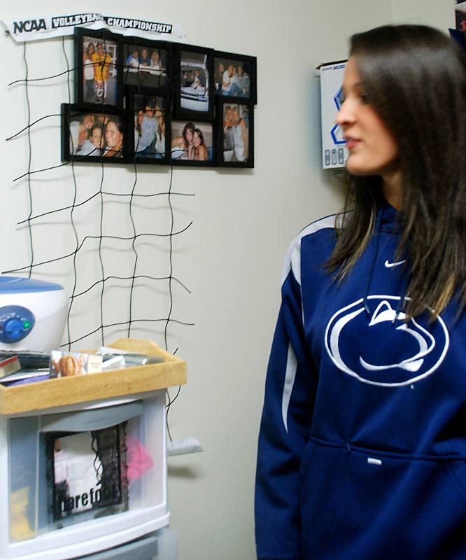 A piece of the net from the national championship game hangs from the wall in Ream's room. The 3-2 win over Stanford (30-25, 30-26, 23-20, 19-30, 15-8) was especially sweet for Ream, who grew up in the State College area and became a Nittany Lion after transferring from Miami (Fla.) during her freshman year.