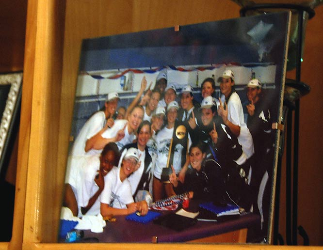 On the towering bookshelf that houses the cactus, the players have many pictures, some from parties and others from Penn State's Interfraternity Council/Panhellenic Dance Marathon (THON), a university fundraiser for children of the Four Diamonds Fund. The photo of which the pair is most proud, however, is the team photo (shown here) taken after the national championship victory in December.