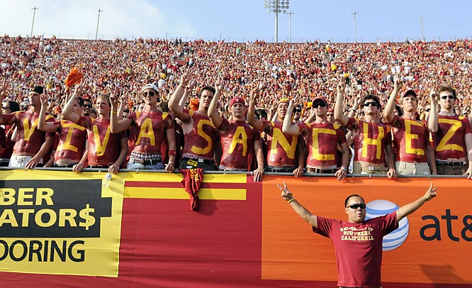 USC fans show their support for first-year starting quarterback Mark Sanchez.