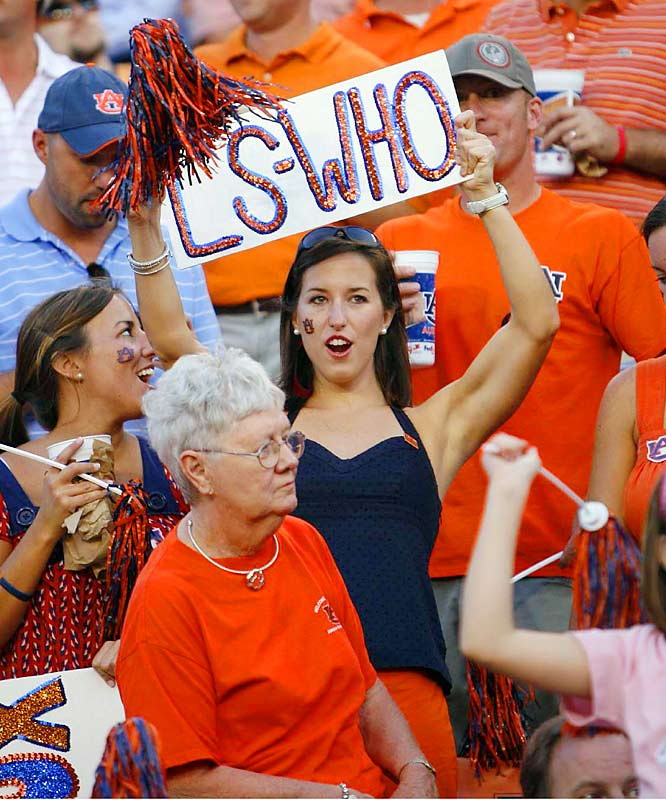 "This Tiger fan probably got a few chuckles for her ""LS-Who"" sign, but LSU had the last laugh."
