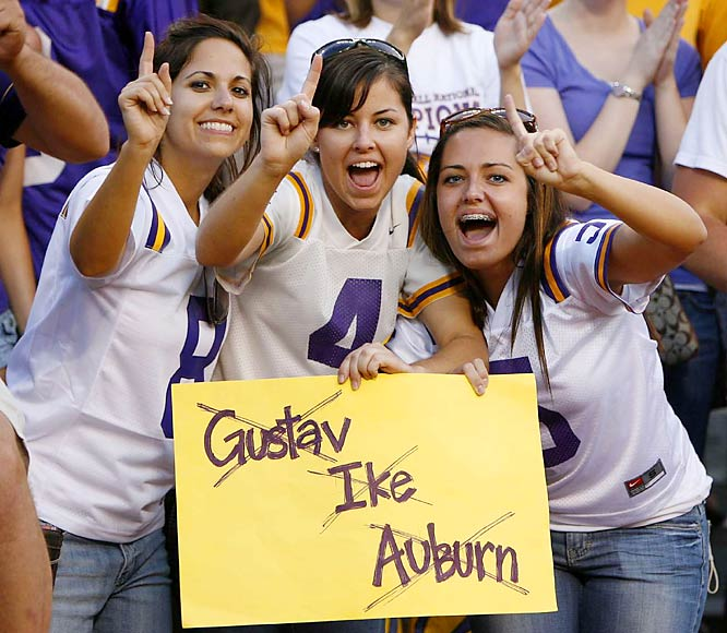 Natural disasters aren't usually comic fodder, but these LSU fans deserve props for this clever sign. And they were right -- after surviving Gustav and Ike, they took care of Auburn.