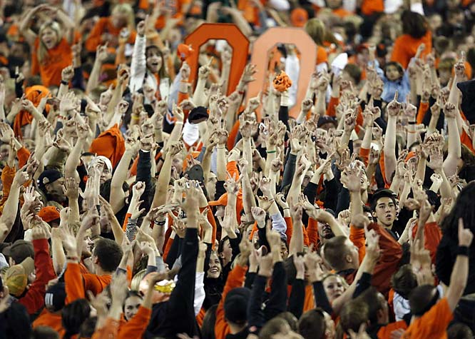 The Oregon State student section exploded onto the field after OSU upset No. 1 USC 27-21.
