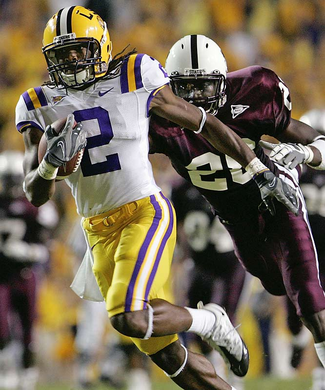 LSU wide receiver Demetrius Byrd (2) and the Tigers broke away from Mississippi State and Tay Bowser.