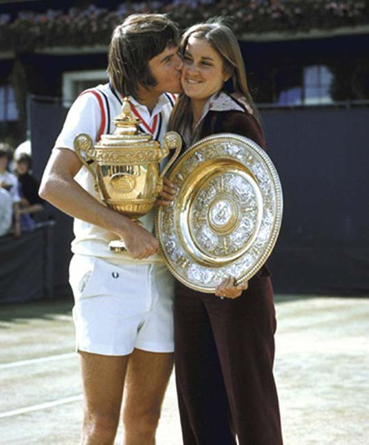 Chris Evert and Jimmy Connors win their first career matches at the U.S. Open.