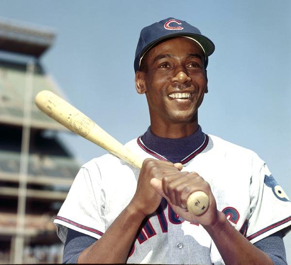 Cubs slugger Ernie Banks hits career home run No. 400 off Curt Simmons.