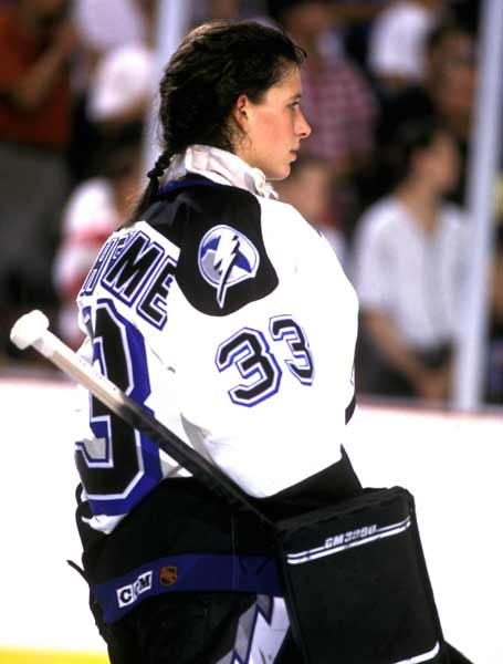 Tampa Bay goaltender Manon Rheaume becomes the first female to play in a NHL exhibition game. She gives up two goals on nine attempts in one period