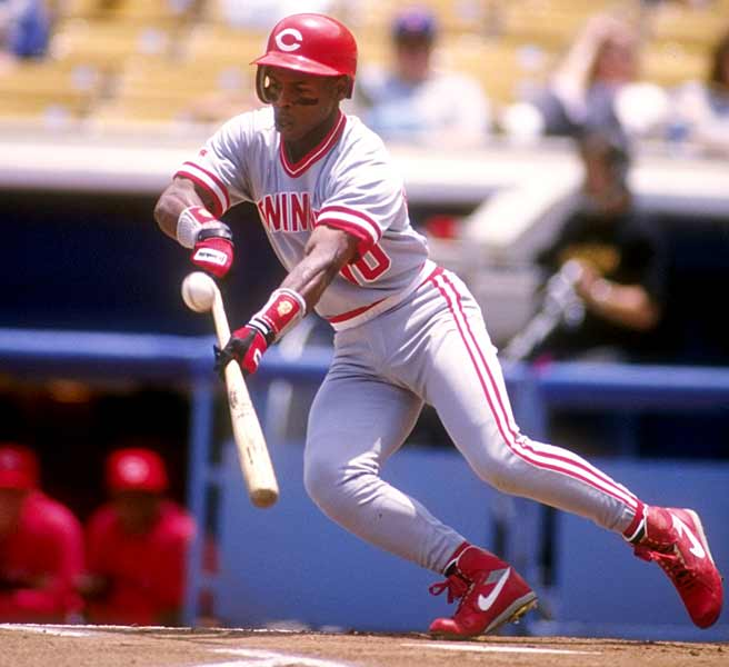 The Reds' Bip Roberts ties the National league record with his 10th consecutive hit. The streak ends when he grounds out against Dodger Pedro Astacio.