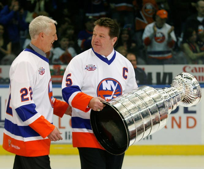 New York Islanders Mike Bossy and Dennis Potvin (pictured here in 2008) are inducted into NHL Hall of Fame
