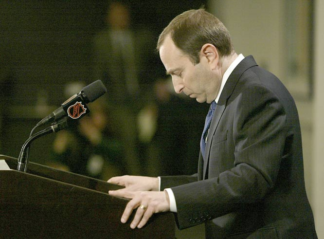 NHL commissioner Gary Bettman announces a lockout of the players union and cessation of operations by the NHL head office.