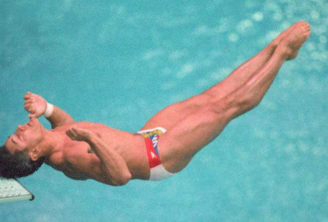 Greg Louganis suffers a head injury while qualifying for the summer Olympics. The diver recovered to win two gold medals in Seoul.