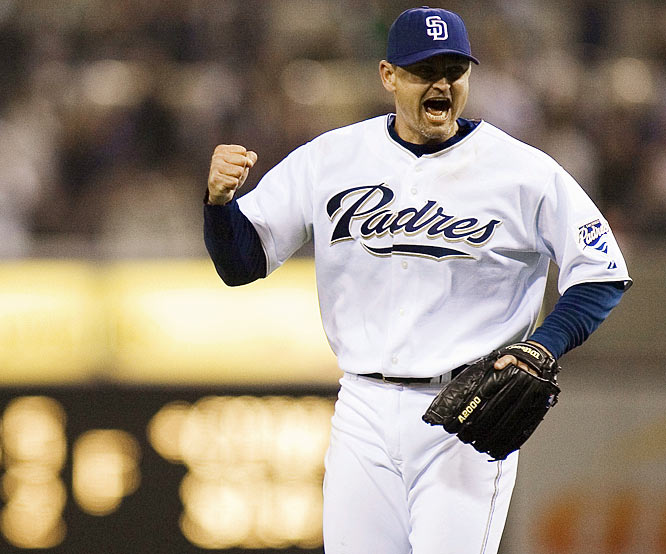 At PETCO Park, Trevor Hoffman retires the three Pirates batter he faces in ninth inning ensuring a 2-1 victory. The Padres closer's 479th career save surpasses Lee Smith total (1980-1997) making the 38-year-old reliever the all-time leader.