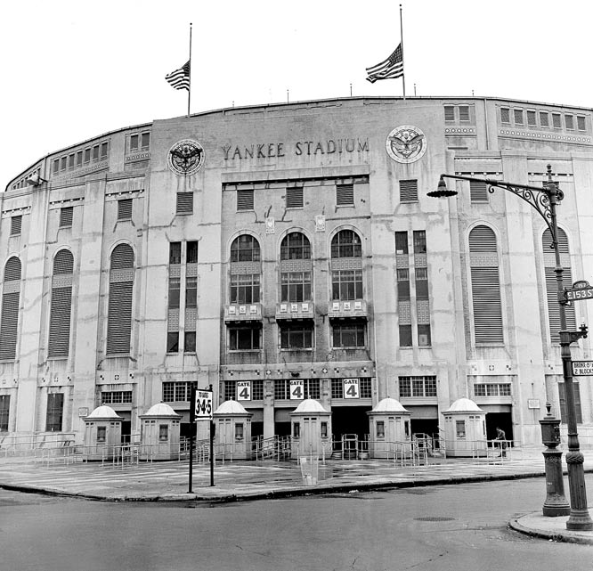90 years ago, on April 18, 1923, the original Yankee Stadium opened in the Bronx. John Phillip Sousa's band played the National Anthem and the Yankees beat the Boston Red Sox 4-1. Here are some of the most memorable sports moments to take place at the old Yankee Stadium. American flags atop Yankee Stadium in 1948 - poised at half staff in honor of Babe Ruth.