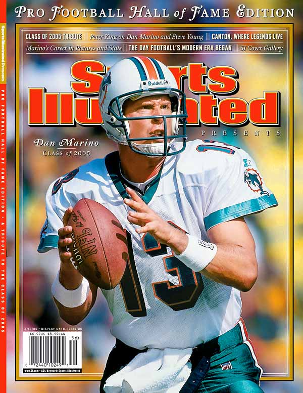 After becoming the Dolphins starter six weeks into his rookie career, Marino became the most prolific passer in NFL history with 61,361 yards and 420 touchdowns. He was the first player ever to pass for 5,000 yards in a season and, in 1984, threw a then-record 48 TDs.  By the time he retired following the 1999 season, he had been selected to nine Pro Bowls.