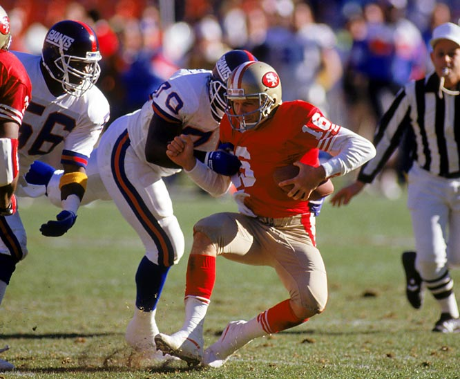 In a matchup between the 49ers' Montana-led offense and the Giants' imposing defense, the teams played nine times between 1981 and '88, including three playoff games.
