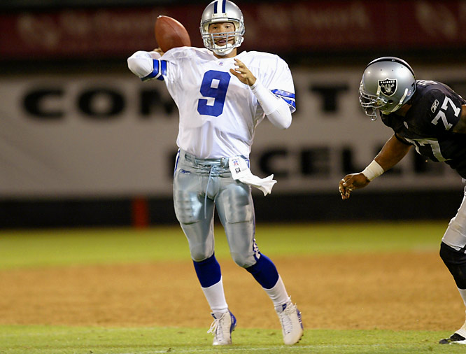 Romo first earned attention in Dallas during a preseason victory over the Raiders in 2004. Entering the game with 4:43 remaining in regulation and Dallas trailing 20-15, he directed a 59-yard scoring drive. One play after converting a 4th-and-9 with a 13-yard completion to Sean Ryan, Romo scrambled for the game-winning score with six seconds left.