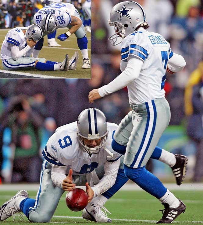 Romo's first playoff outing with the Cowboys was gut-wrenching. With Dallas trailing 21-20 inside the two-minute warning, Romo drove the offense into position for a go-ahead field goal from 19 yards. But while serving as the team's holder, he dropped the snap and attempted to run for a touchdown. Jordan Babineaux wrapped up Romo at the one, locking down the victory for the Seahawks.