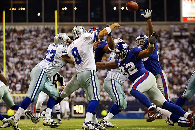 In a divisional playoff clash, New York's ferocious front seven harassed Romo throughout the afternoon. His interception in the final minute ended the Dallas comeback bid, as the Giants escaped with an unlikely 21-17 victory and went on to win the Super Bowl.
