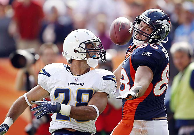 The Broncos' Tony Scheffler wasn't able to get his hands on the ball against San Diego defender Steve Gregory.