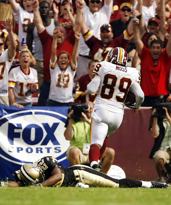 New Orleans cornerback Tracy Porter is face-down on the turf after being beaten by Redskins wideout Santana Moss on a 67-yard pass play for the winning touchdown in the fourth quarter.
