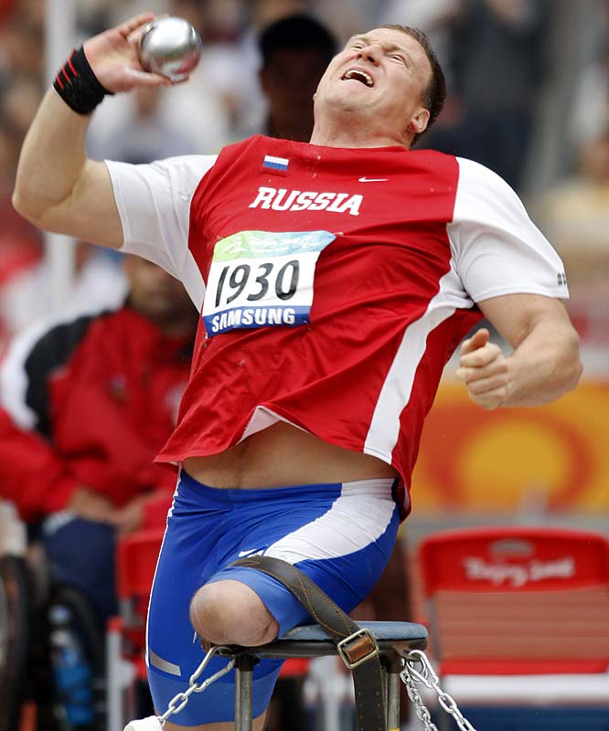 Russia's Alexey Ashapatov in the shot put.