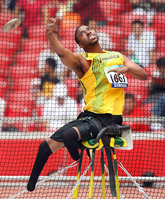 Tanto Campbell of Jamaica competes in the discus.