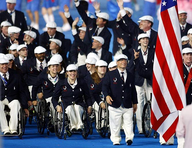 Athletes from the U.S. during the opening ceremonies.
