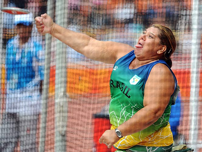 Suely Guimaraes of Brazil during the final of the discus.