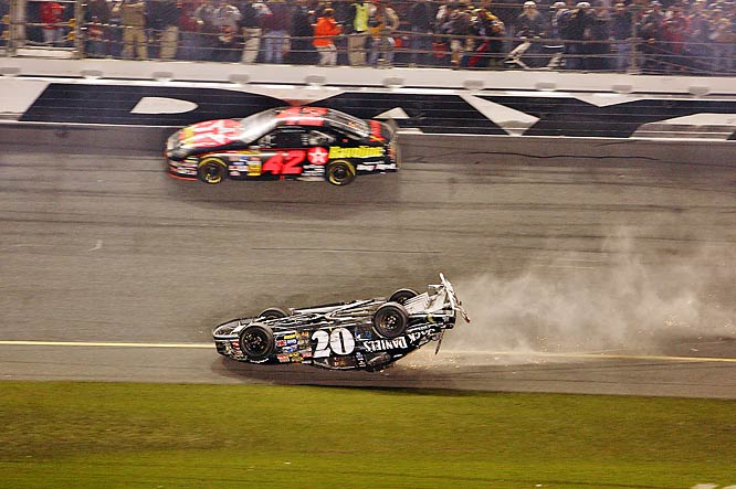 "Every Daytona 500 features at least one, sizable multi-car pileup, which all drivers refer to as ""the Big One."" Perhaps none was more memorable than the smash-up that took place on the final lap of the 2007 race, which involved more than a dozen cars and saw driver Clint Bowyer's ride slide across the line upside down and on fire. Who won? Who cares?"