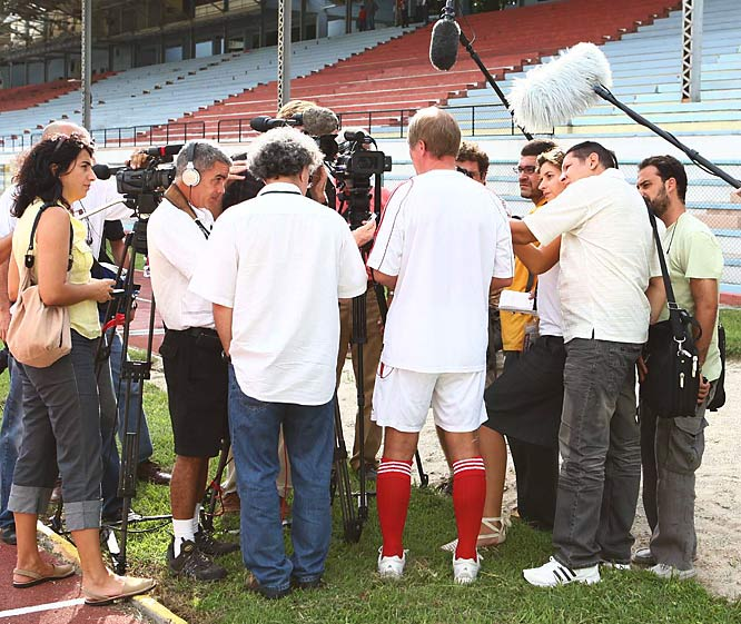 Cuba's German coach, Reinhold Fanz, meets with the media on Wednesday.