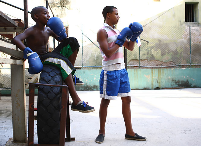 Young boxers wait for their turn at the Rafael Trejo Gymnasium.