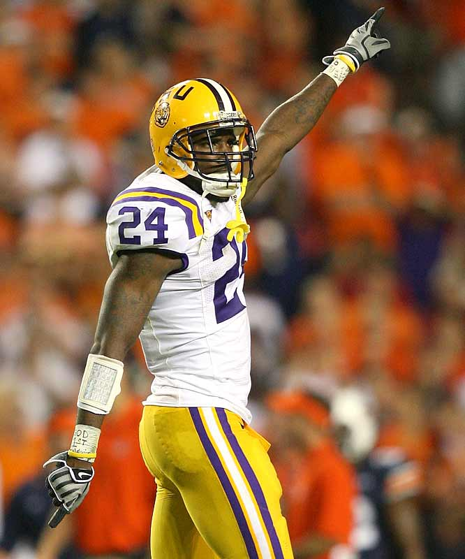 LSU safety Harry Coleman rejoices after his team's narrow win over rival Auburn. The purple-and-gold Tigers can now revel in that the Auburn-LSU winner usually advances to the SEC title game in December.