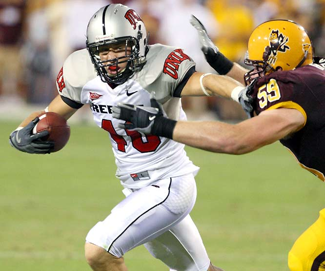 Beau Orth (pictured) made this interception, and Malo Taumua blocked a field goal to liftUNLV to a 23-20 overtime upset of No. 15 Arizona State.
