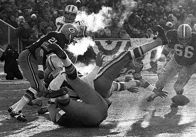 Played at Lambeau Field, the Ice Bowl is the coldest NFL game on record in terms of actual temperature (-13 degrees). The cold overwhelmed the field's heating system, leaving the surface hard and icy, and the referees relied on hand signals throughout the game after their whistles froze to their lips on the opening kickoff. The Packers went on to a 21-17 win.