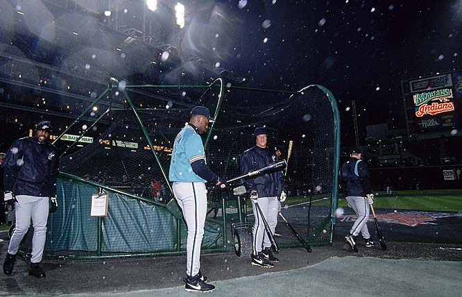 This matchup stands as the coldest World Series game ever (38 degrees, with 15 degree wind chills). Both clubs took batting practice in the snow - a huge difference from Games 1 and 2, which were played in sunny Miami -- before the Indians tied the Series with a 10-3 victory.
