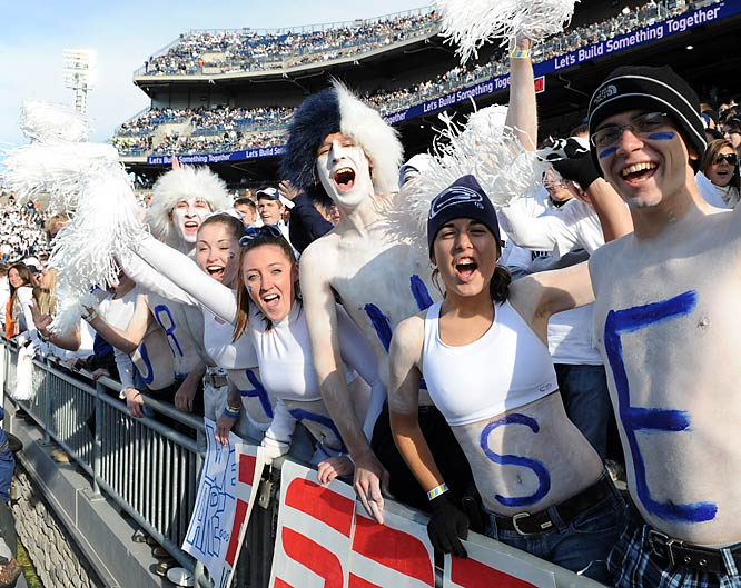 We'd cheer too if our team were 8-0 and No. 3 in the country like the Nittany Lions.