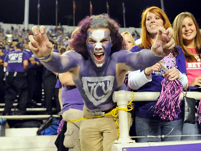 This fan is arguably scarier than TCU's Horned Frog mascot.