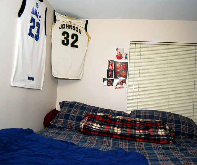 Johnson's St. Vincent-St. Mary high school jersey hangs above his bed next to former teammate LeBron James' jersey. MJ says the two still text every once in a while and that when both are in Cleveland he'll go hang out at LeBron's house.
