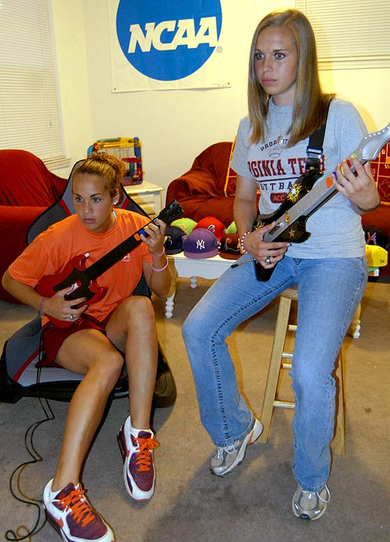 Mariconda and Lowry attempt to outshred eachother in their favorite housemate activity, 'Guitar Hero.' Lowry's been crowned the house champ.