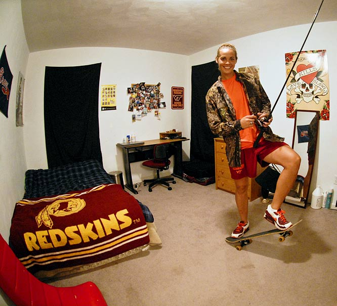 Hall's room has everything she needs for two of her favorite sports -- skateboarding and fishing. She also drapes black sheets over her windows to create a pitch black effect for bedtime.