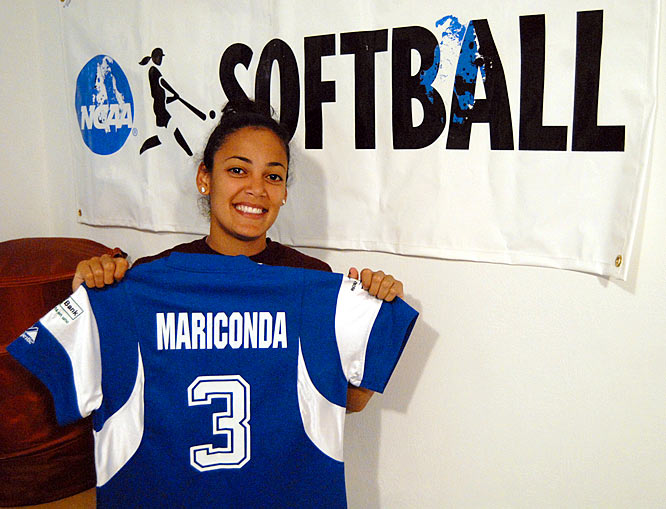 Mariconda shows off her jersey from the Puerto Rican national team, which fell only one game short of advancing to the 2008 Summer Games in Beijing.